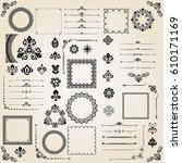 vintage set of vector... | Shutterstock .eps vector #610171169