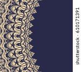 oriental vector golden frame... | Shutterstock .eps vector #610171391