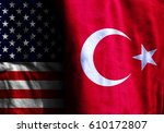 two flags  the united states... | Shutterstock . vector #610172807