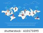 global worldwide communication... | Shutterstock . vector #610173395