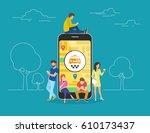 booking taxi online concept... | Shutterstock . vector #610173437