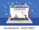 social network web site surfing ... | Shutterstock . vector #610173827