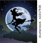 silhouette of a beautiful witch ... | Shutterstock .eps vector #61017928