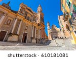 small town square and saint... | Shutterstock . vector #610181081