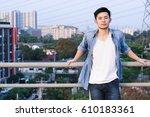 portrait guy  a attractive guy...   Shutterstock . vector #610183361