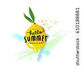 lemon wallpaper on white | Shutterstock .eps vector #610188881