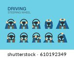 driving car. hands holding a... | Shutterstock .eps vector #610192349