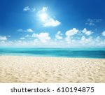 sunny tropical beach and... | Shutterstock . vector #610194875