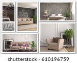 collage of modern home brown... | Shutterstock . vector #610196759