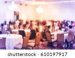 blurred multiethnic people in... | Shutterstock . vector #610197917