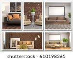 collage of modern home brown... | Shutterstock . vector #610198265