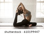 young attractive yogi woman... | Shutterstock . vector #610199447