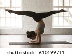 young attractive yogi woman... | Shutterstock . vector #610199711