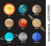planets of the solar system in... | Shutterstock .eps vector #610199891