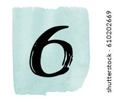 number on watercolor background.... | Shutterstock .eps vector #610202669