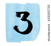 number on watercolor background.... | Shutterstock .eps vector #610202735