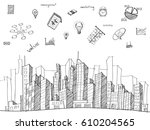 cityscape with web icons