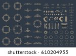 circle and square wicker... | Shutterstock .eps vector #610204955
