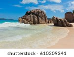 rocky beach ladigue stones  | Shutterstock . vector #610209341