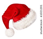 Santa Claus Red Hat On White...