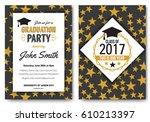 graduation party vector... | Shutterstock .eps vector #610213397