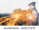 double exposure of engineer or... | Shutterstock . vector #610217675