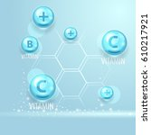 vector vitamins and elements.... | Shutterstock .eps vector #610217921