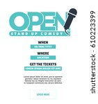 open mic concept poster. venue  ... | Shutterstock .eps vector #610223399