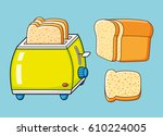 toaster with slices and half a...   Shutterstock .eps vector #610224005
