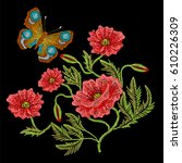 embroidery stitches with red... | Shutterstock .eps vector #610226309