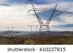 electricity pylons with the... | Shutterstock . vector #610227815