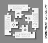 white puzzle four piece... | Shutterstock .eps vector #610233299