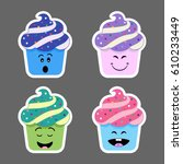 set of cupcake emojis icons.... | Shutterstock .eps vector #610233449