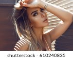 beautiful girl fashion... | Shutterstock . vector #610240835