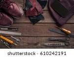 leather crafting. tools flat... | Shutterstock . vector #610242191