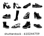 shoes set of vector flat icons. ... | Shutterstock .eps vector #610244759