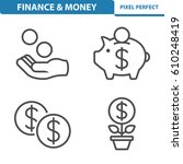 finance   money icons.... | Shutterstock .eps vector #610248419