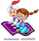 cartoon aladdin and jasmine | Shutterstock .eps vector #610249655