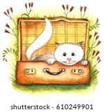 white cat. abstract watercolor... | Shutterstock . vector #610249901