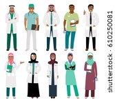 muslims healthcare staff.... | Shutterstock .eps vector #610250081