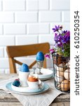 easter breakfast with natural... | Shutterstock . vector #610250354