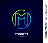 letter m logo  circle shape... | Shutterstock .eps vector #610262069