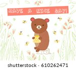 cute bear in the woods with... | Shutterstock .eps vector #610262471