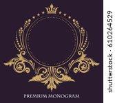 gold graceful frame. decorative ... | Shutterstock .eps vector #610264529