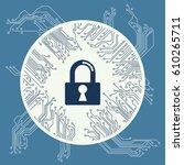 cyber security design vector... | Shutterstock .eps vector #610265711