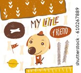 cute postcard  card  background ... | Shutterstock .eps vector #610267889
