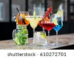 bar. various cocktails on the... | Shutterstock . vector #610272701