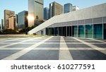 empty brick road nearby office...   Shutterstock . vector #610277591