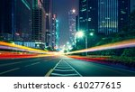 the traffic light trails of city | Shutterstock . vector #610277615