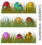 easter eggs hunt in green grass ... | Shutterstock .eps vector #610280471